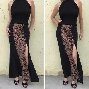 Dresses & Skirts - BLACK MAXI SKIRT long evening leopard slit S/M